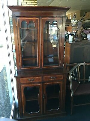 Antique Early 20th Century Edwardian Mahogany Bookcase Cabinet With Inlay Design