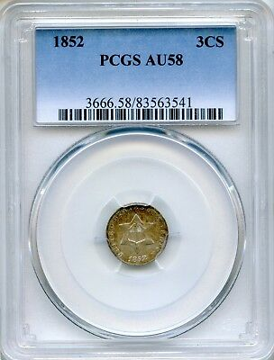1852 Three Cent Silver PCGS AU58 ~ 3CS (83563541)