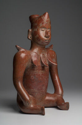Large, Important Pre-Columbian Colima Seated Jester, Ex-Museum collection 200 BC