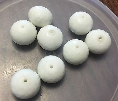Vintage Japan White Milk Glass Super Disco Faceted Bold Saucer Glass Bead Lot