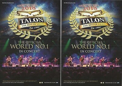 Talon - The best of Eagles - Greatest Hits 2018 UK Tour FLYERS x 2