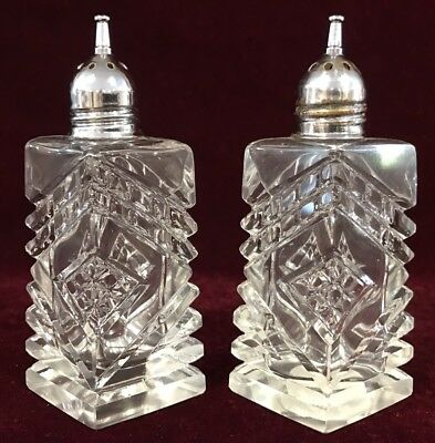 Vintage Clear Glass Crystal Salt & Pepper Shakers w/ Chrome Lids