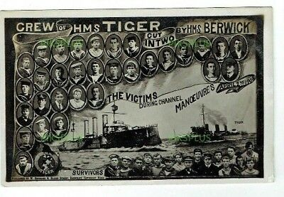 Warner Gothard Disaster Postcard Crew Of Hms Tiger Real Photo Vintage 1908