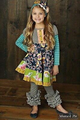 NWT Girl Mustard Pie Jeweled Forest Collection Ruby Floral  Dress Girls sz 6