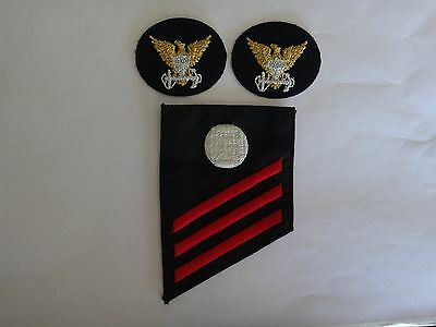 2 US Coast Guard COMMAND ID Patches + FIREMAN Chevron ELECTRICIAN'S MATE Rating