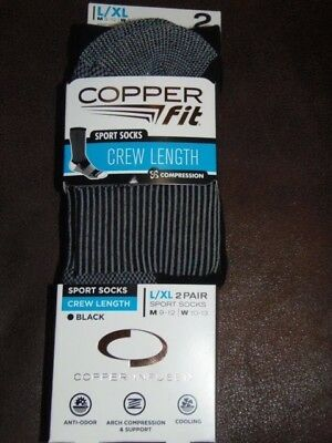 Copper Fit - Sport Socks Crew Length - Men & Women  L / Xl - 2 Pk - Black (Cf-8)