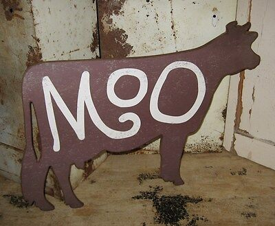 Moo COW Wall SIGN*Primitive/French Country Kitchen Farmhouse Decor*Cattle Ranch