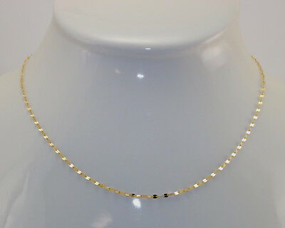 New 14K Polished Yellow Gold 2 mm 18 Inch Mirror Flat Link Chain Necklace