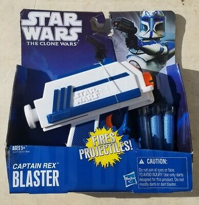 Star Wars The Clone Wars CAPTAIN REX BLASTER NERF Dart Gun Hasbro 2010 New