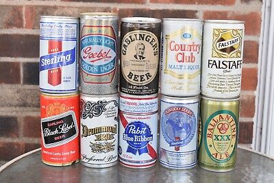 Vintage Beer Can Lot of 10 Cans US Collectible Empty Beer Can Thick Metal Cans