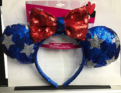 Disney Minnie Mouse Ears Headband Red Blue Silver Stars Bow July 4th America NEW