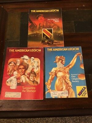 The American Legion Lot Of 3 Vintage Magazines 80's 82 83 Good Condition
