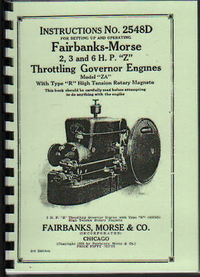 """Fairbanks-Morse /""""Z/"""" Stationary 2417D 3hp to 6hp Engine Instruction Book"""