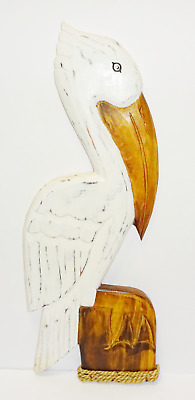 "24"" White Pelican Hand Carved Painted Wood Tropical Sculpture Bird Wall Hanging"