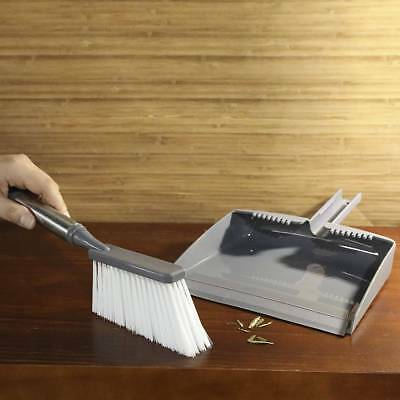 Table Top Stainless Steel Handle Dustpan and Brush Set Gray Vintage Cleaner