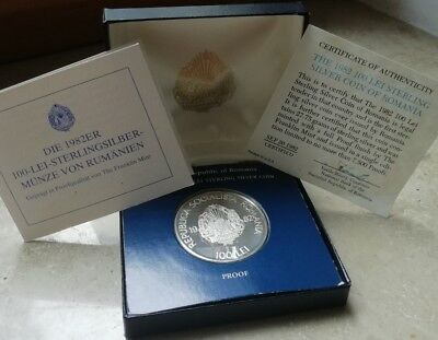100 LEI 1982 Romania Sterling Silver PROOF Coin Franklin Mint (03423)