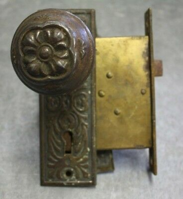 Antique set of Ornate Door Knobs, Escutcheon Plates & Mortise Lock