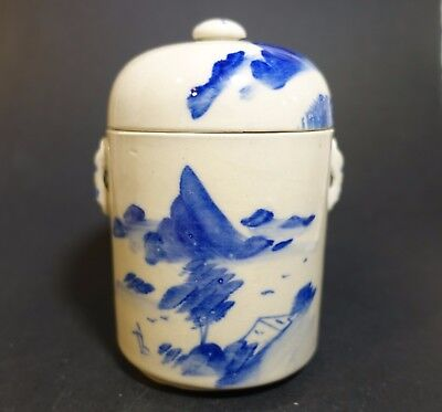 a57h CHINESE PORCELAIN BLUE AND WHITE PORCELAIN TEA CADDY