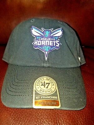 promo code f7f2b 8041f Charlotte Hornets 47 Brand The Franchise Black Fitted Slouch Hat Cap Medium  NBA