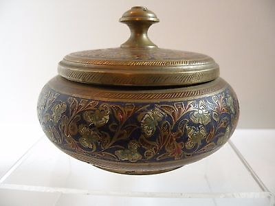 zz610 INDIA BRASS BOX WITH COLD PAINTED ENGRAVED DESIGNS, VINTAGE