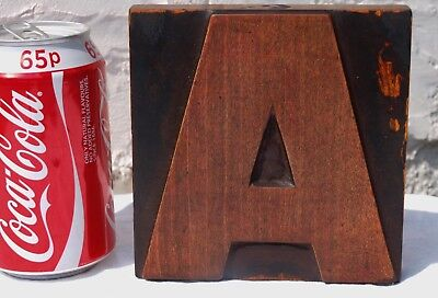 "LARGE ""A"" 5"" 127mm LETTER WOOD WOODEN PRINTING BLOCK LETTERPRESS - ULTRA BOLD"