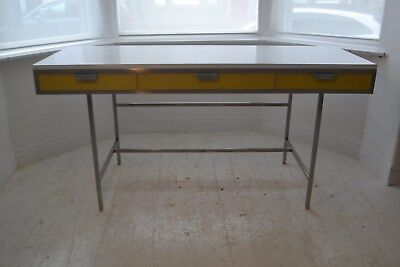 STUNNING VINTAGE MODERNIST METAL & LEATHER DESK - 1970's
