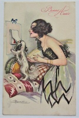 A/S Busi Beautiful LADY & Her DOG Art Deco NEW YEAR Postcard