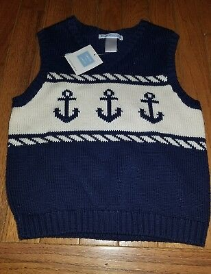 NWT Boys Janie And Jack  Navy Anchor Sweater Vest  Size 4