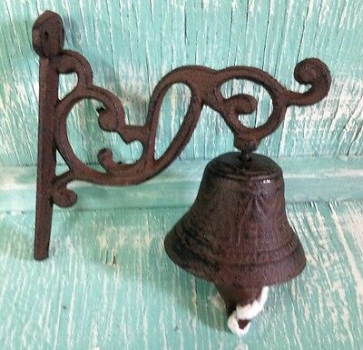 Door Bell Dinner Bell Wall Mount Brown Cast Iron Rustic Vintage Old Fashion
