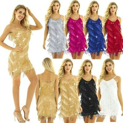 Ladies 1920s Flapper Dress Charleston Party Sequined Fringe Latin Dance Dress