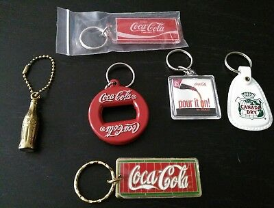 Lot of 6 vtg new Coca-Cola keychains 80s and 90s bottle opener Canada Dry nos