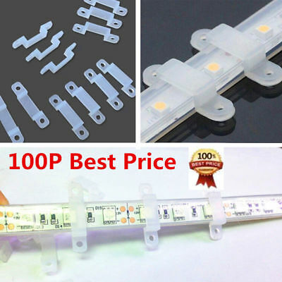 100 *10/12mm Silicone Mounting Bracket Fastener For 3528 5050 LED Strip Lamp New
