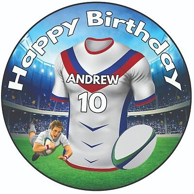 Personalised Birthday Cake Topper 8 Icing Rugby Shirts Wakefield Trinity Colour