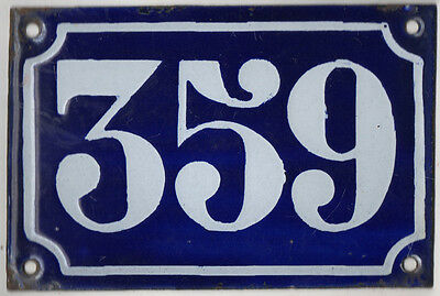 Old blue French house number 359 door gate plate plaque enamel metal sign c1900