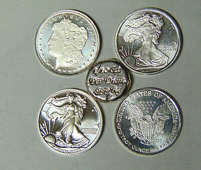 Lot of Five 1/10 oz .999 Fine Silver Rounds Morgan Walking Liberty Per Diem 7218