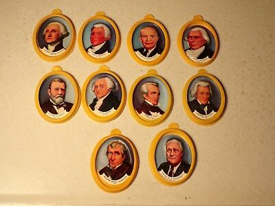 1950's Nabisco Cereal Premium President Plaques Lot Of 10