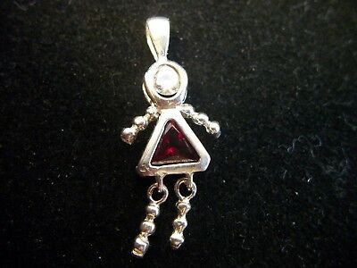 Vintage 925 Sterling Silver, Girl Figure Dangle Red Pendant, Very Nice!!