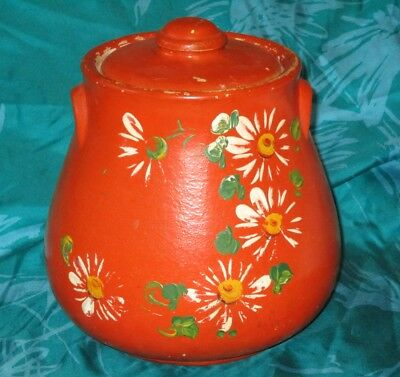 Vintage Robinson Ransbottom RED STONEWARE COOKIE JAR w Painted Flowers BULBOUS