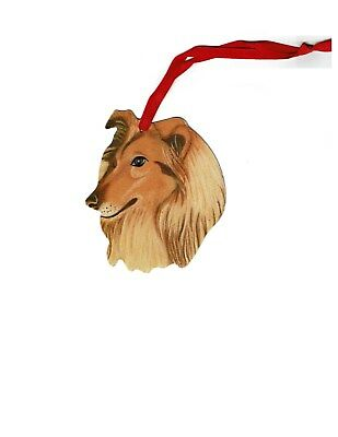 Metal Hanging Ornament Rough Collie Dog set of 2