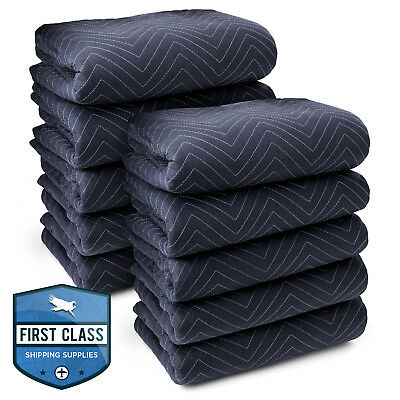 "10 Moving Blankets Furniture Pads - Pro Economy - 80"" x 72"" Navy Blue and Black"