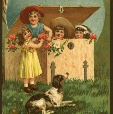 Cute Children Playing With Pointer Dog,roses,embossed, 1909 Vintage Postcard