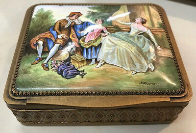 ANTIQUE AUSTRIAN CIRCA 1920s HAND PAINTED PORCELAIN ON BRONZE BOX SIGNED