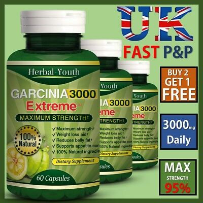 95% GARCINIA CAMBOGIA Capsules 3000mg Daily PURE NATURAL Diet Weight Loss Pills