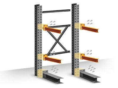 """Cantilever Rack Starter Kit - Single-Sided -  16'H x 48""""D x 48""""W with 4""""H arms"""