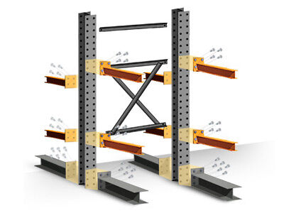 """Cantilever Rack Starter Kit - Double Sided - 16'H x 60""""D x 48""""W with 5""""H arms"""