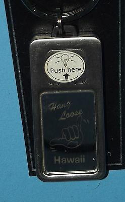 Hawaii Key Chain Hang Loose Titanium Collection Metal Fob Lights Up Souvenir
