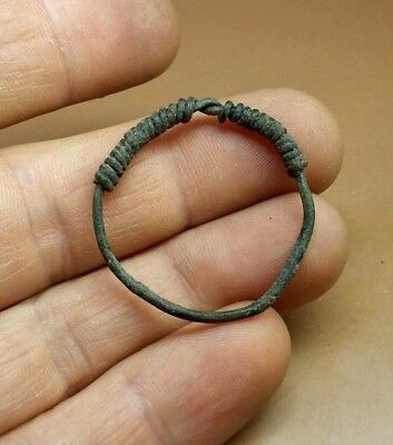 RARE ANCIENT Authentic BRONZE  COILED  RING Goths 3 - 4 century AD + GIFT  #2933