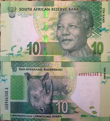 South Africa Nelson Mandela 2012 10 Rand P-133 Unc Note Rhinoceros Usa Seller