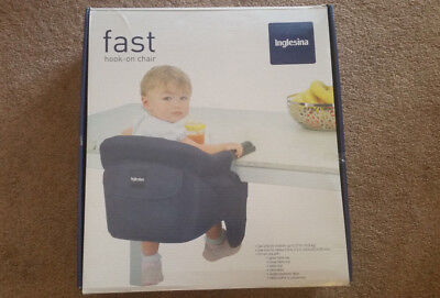 Inglesina Fast Hook-On Table Chair for Baby Toddler Black Up to 37 lbs.