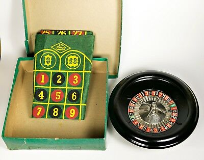 "Vintage Roulette Wheel 1940s Art Deco Lowes Bakelite 8"" ES Lowe Original Box"